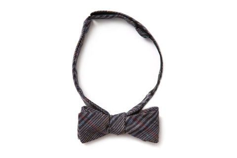 Dark Indigo Plaid Straight Bow Tie