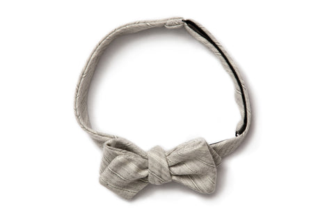 Pointed Bow Tie - Grey Stripe Wool