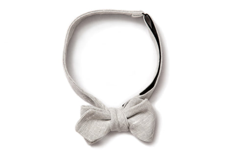 Pointed Bow Tie - Grey Linen
