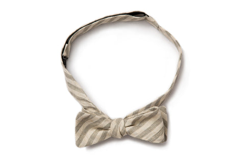 Grey Railroad Stripe Straight Bow Tie