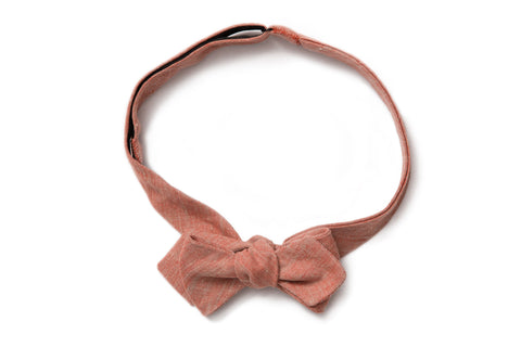 Pointed Bow Tie - Cayenne Red Linen