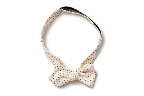 Pointed Bow Tie - Cream Moon Dot