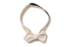 Cream Moon Dot Pointed Bow Tie