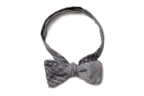 Light Indigo Plaid Straight Bow Tie