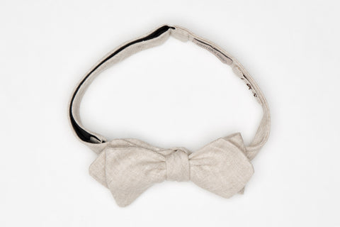 Tan natural linen bow tie