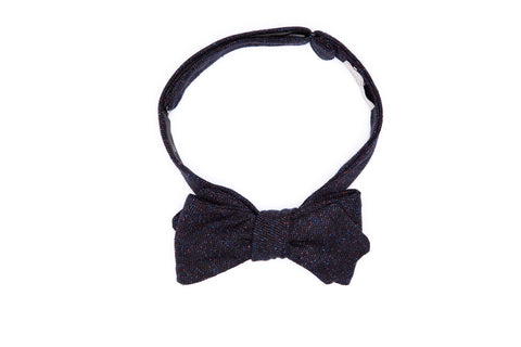 Americana Fleck Navy Wool Pointed Bow Tie