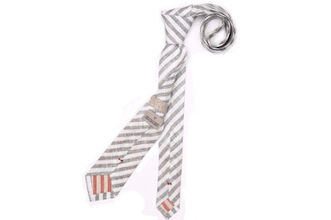 Grey and White Railroad Stripe Slim Pointed Necktie