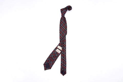 Pointed Necktie - Navy Clay Check