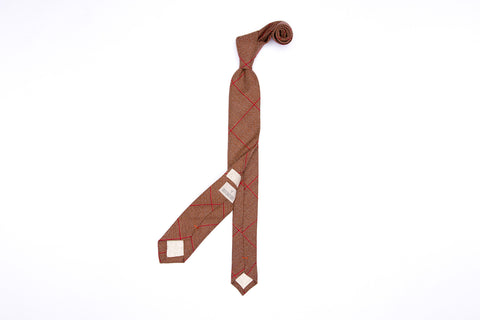 Terracotta Plaid Pointed Neck Tie