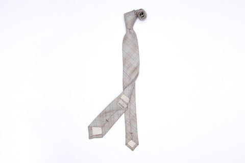Pointed Necktie - Ash Bisque Plaid