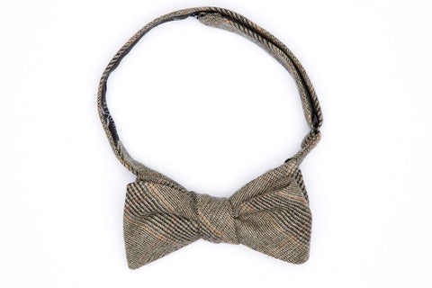 Clay Rock Plaid Straight Bow Tie