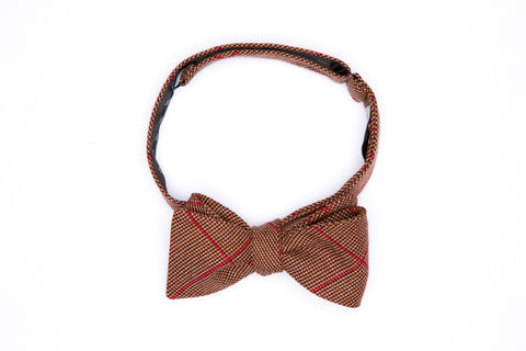 Terracotta Red Plaid Straight Bow Tie