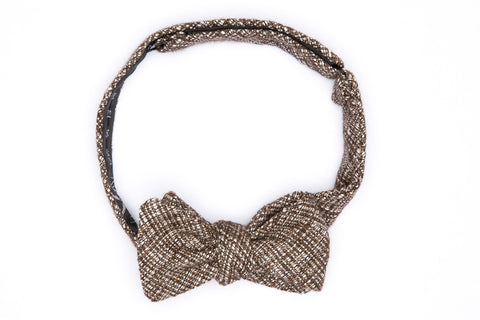 Umber Basket Weave Straight Bow Tie
