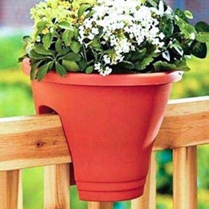 Round Railing Planters - Set of 3 - Multicolor - 12 inches