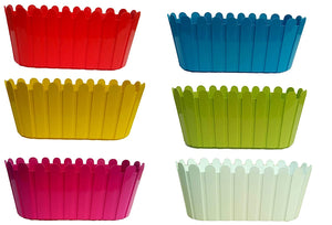 Window Planter Rectangular - 12 inches - Multi-color - Set of 6
