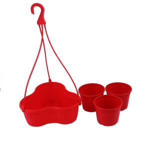 Hanging Basket with Pots - Red - 7 inches