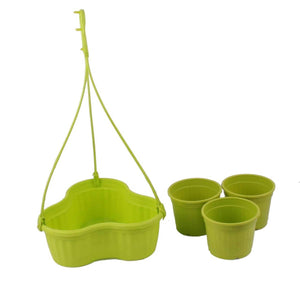 Hanging Basket with Pots - Green - 7 inches