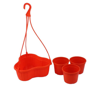 Hanging Basket with Pots - Orange - 7 inches