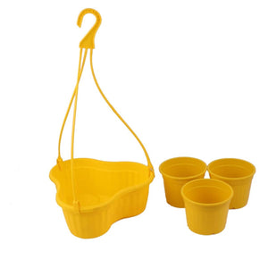 Hanging Basket with Pots - Yellow - 7 inches