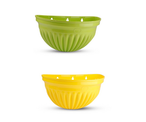 Wall Planter - Green and Yellow -14 inches - Set of 2