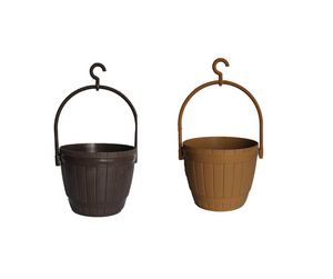 Lilly Basket - Set of 2 ( 8 inches ) Black and light Brown