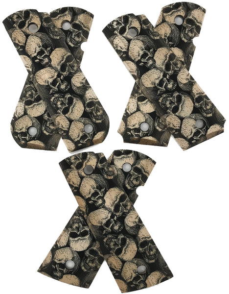1911 Full Size grips - Black Stained Skull Textured