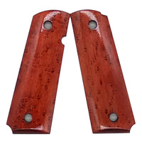 1911 Full size grips - Birds Eye Maple, Red - Beveled Bottom