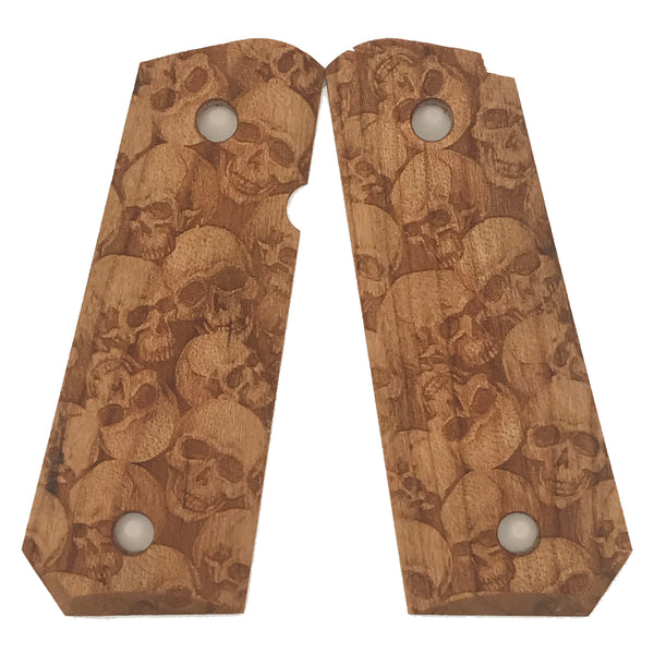 1911 Compact Size grips - Natural Cherry Skull Textured