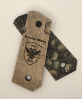 1911 Compact Size grips - Black Stained Skull Textured