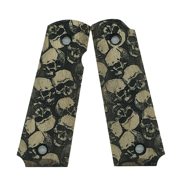 Browning 1911-22/380 grips - Black Stained Skull Textured