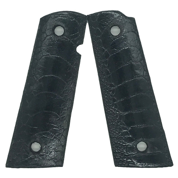 1911 Full size grips - Ostrich Leg Leather - Black
