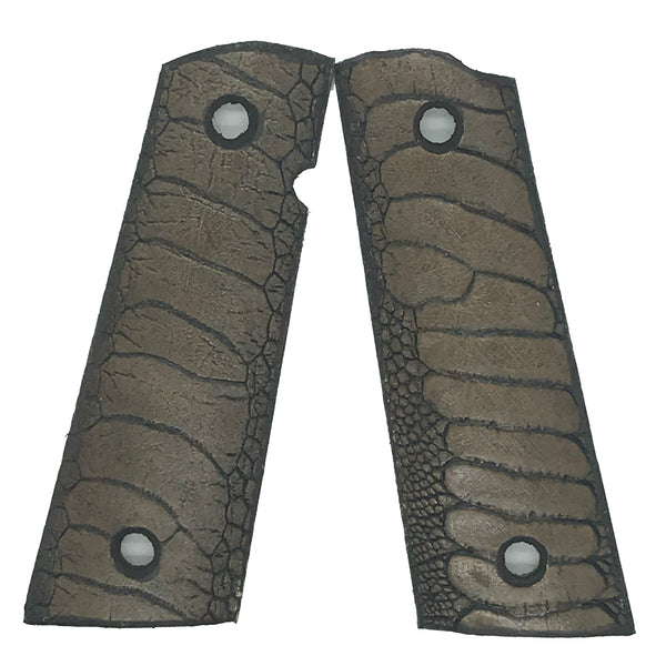 1911 Full size grips - Ostrich Leg Leather - Tan
