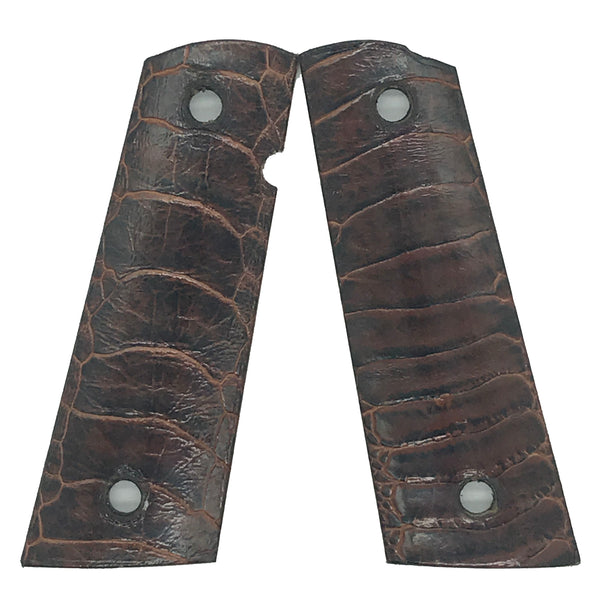 1911 Full size grips - Ostrich Leg Leather - Brown