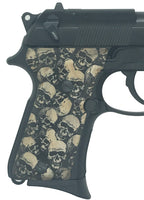 Beretta 92 FS Compact Grips - Black Stained Skull Textured