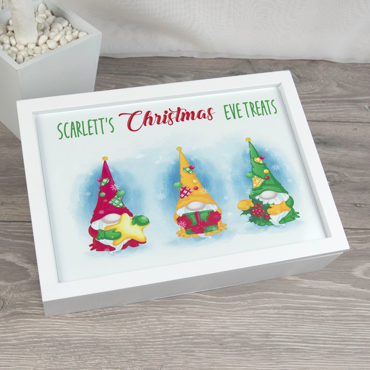 Personalised Gnome Wooden Christmas Eve Box