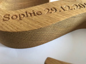 Personalised Solid Oak Wooden Alphabet Letter