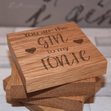 Load image into Gallery viewer, Solid Oak Gin & Tonic Coaster