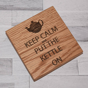 Keep Calm Solid Oak Drinks Coaster