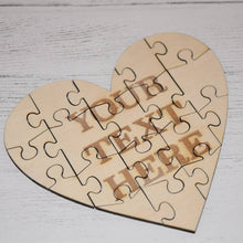 Load image into Gallery viewer, Personalised Wooden Heart Jigsaw Puzzle