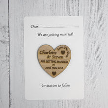 Load image into Gallery viewer, Personalised Wooden Heart Save The Date Card