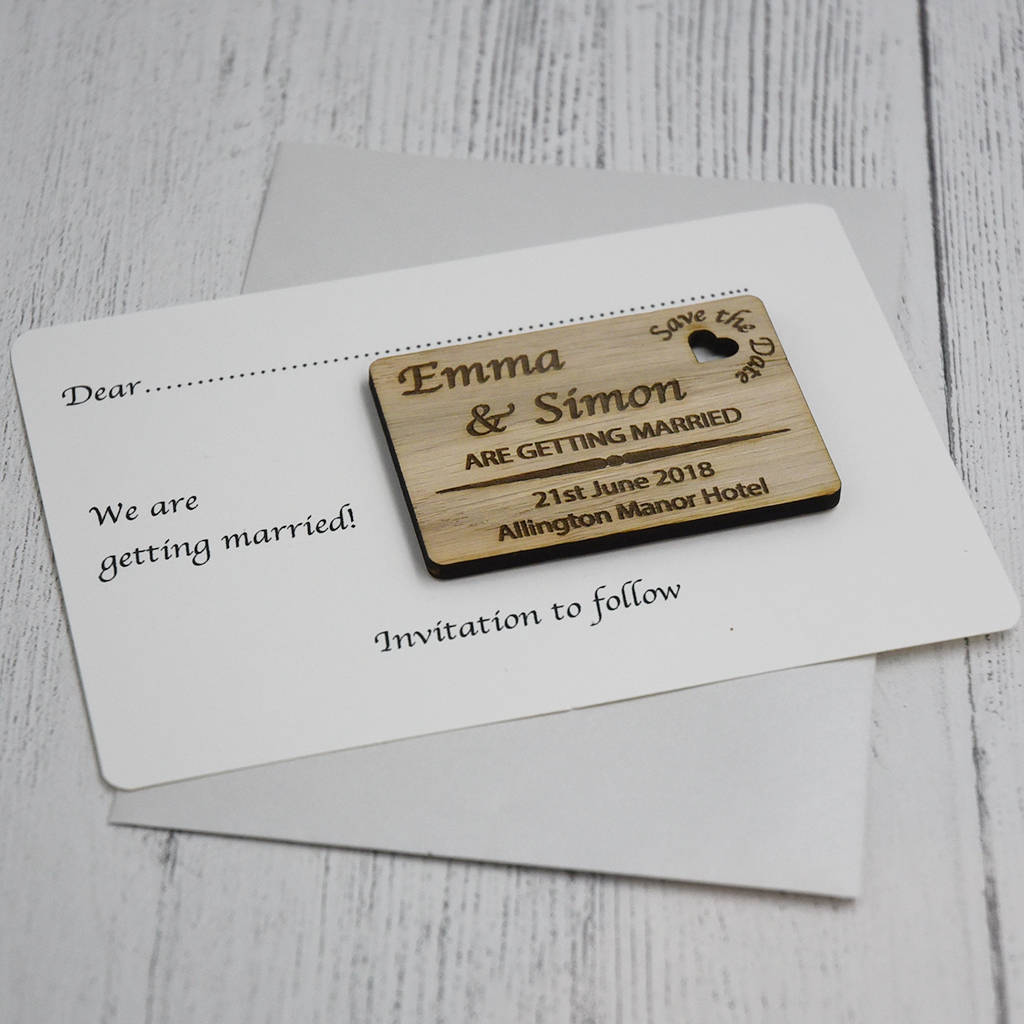 Personalised Wooden Engraved Save The Date Card