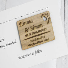 Load image into Gallery viewer, Personalised Wooden Engraved Save The Date Card