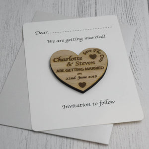 Personalised Wooden Heart Save The Date Card