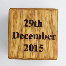 Load image into Gallery viewer, Personalised Solid Oak New Baby Birth Cube