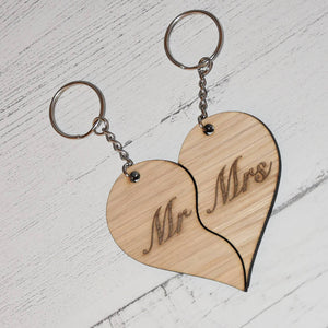 Mr & Mrs Wooden Heart Keyring