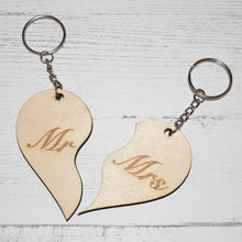 Load image into Gallery viewer, Mr & Mrs Wooden Heart Keyring