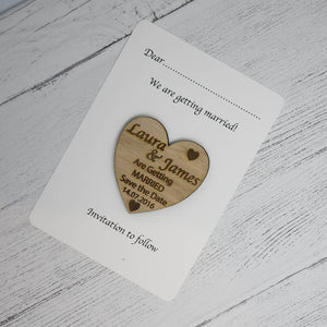 Personalised Heart Save the Date Wedding Announcement Card