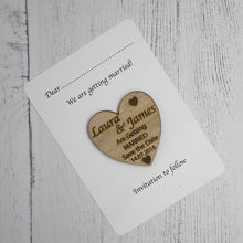 Load image into Gallery viewer, Personalised Heart Save the Date Wedding Announcement Card