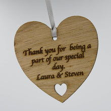 Load image into Gallery viewer, Personalised Bridesmaid or Flower Girl Thank You Wooden Love Heart