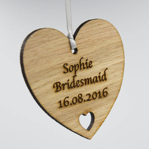 Personalised Bridesmaid or Flower Girl Thank You Wooden Love Heart